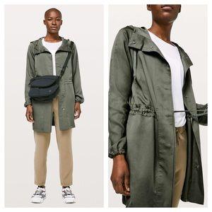 Lululemon City Stroll Jacket Trench Coat Grey Sage